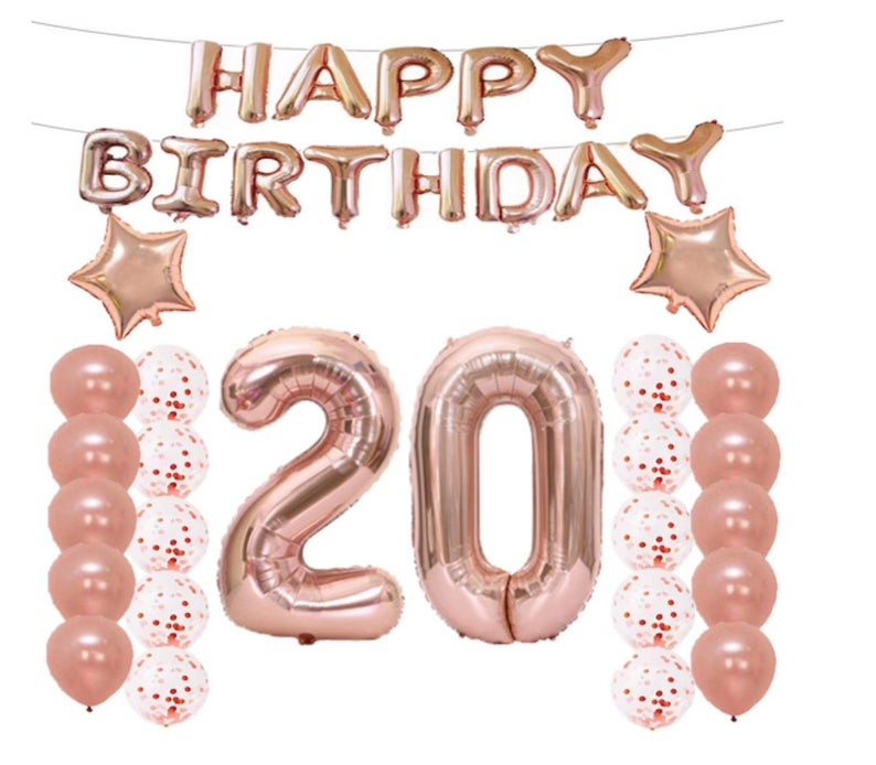 23pcs <font><b>20th</b></font> Number Happy <font><b>Birthday</b></font> Party Decoraions Kids Globos Happy 20 <font><b>Birthday</b></font> Rose Gold Confetti Balloon Anniversaire Baby image