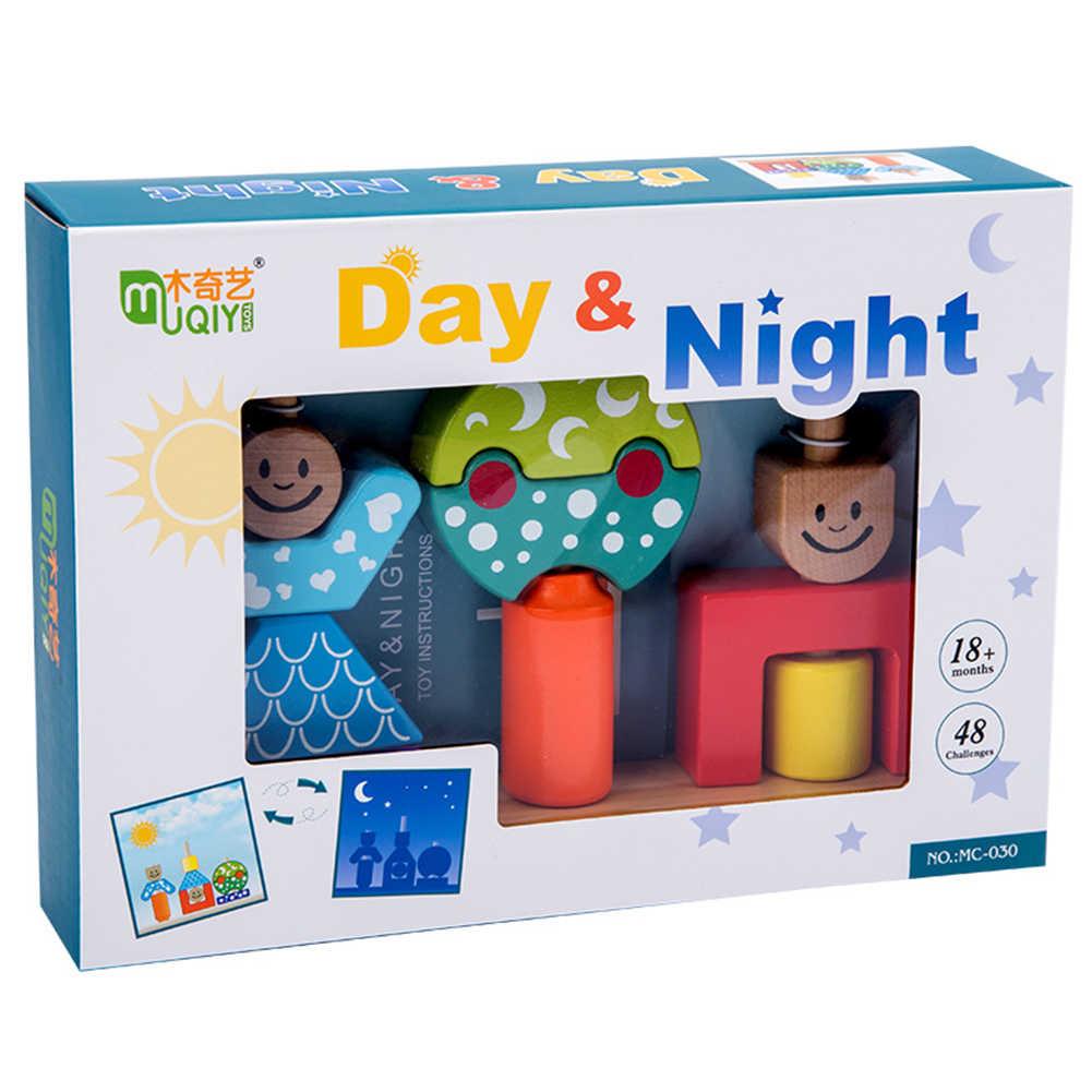 Kayu Kartun Hari Malam Pilar Blok DIY Bangunan Awal Belajar Mainan Bayi