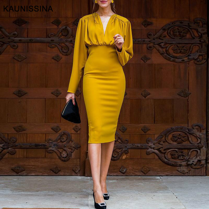KAUNISSINA Bodycon Dress Elegant Cocktail Gown Solid V Neck Long Sleeve Knee-Length Robe Pencil Cocktail Dresses