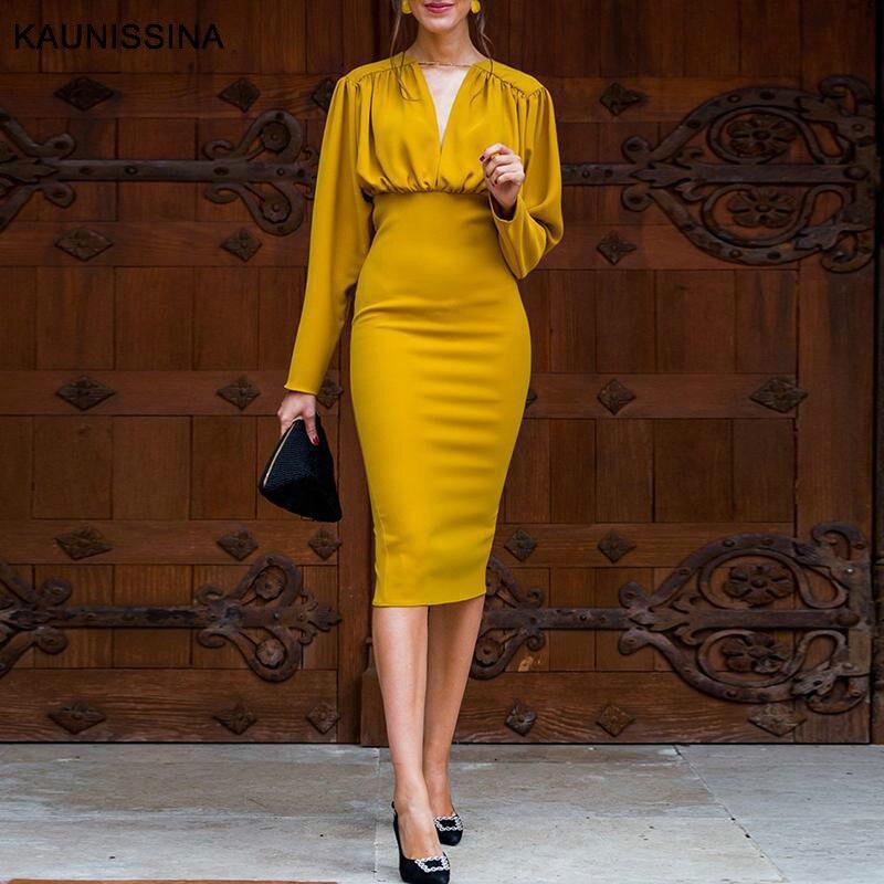 KAUNISSINA Bodycon Kleid Elegante Cocktail Kleid Solid V-ausschnitt Lange Hülse Knie-Länge Robe Bleistift Cocktail Kleider