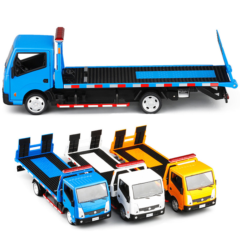 Hot Sale 3 Colors 1:32 Scale Trailer Car Truck Toy Tractors Model Platform Alloy Trailer Kids Toys With Box V223