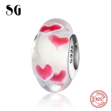 SG sparkling Murano glass beads silver 925 charms with red color love heart fit authentic pandora bracelets jewelry making gift