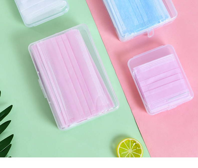 10/15 Boxes Portable Rectangle Dustproof Face Mask Storage Container Plastic Seal Box Case Easy To Carry And Store
