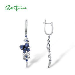 Image 3 - Женские серебряные сережки SANTUZZA из чистого серебра 925 пробы с синими бабочками, модные ювелирные изделия