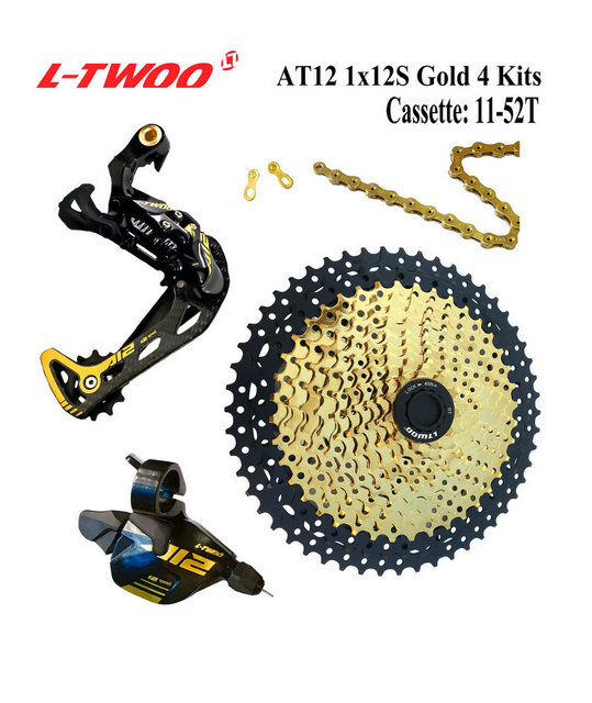 LTWOO Groupset LTWOO AT12 Speed Shifter lever Rear Derailleur Cassette 11-50T 52T, 12S YBN 18A Chain, EAGLE GX / M9100, Golden