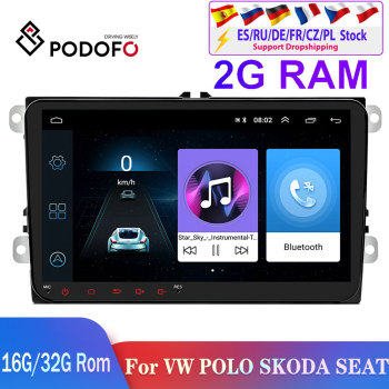 Pdofo 2din Android Car Radio Car Multimedia Player 2 din autoradio For VW/Volkswagen/Golf/Polo/Passat/asiento/Skoda Car Stereo image