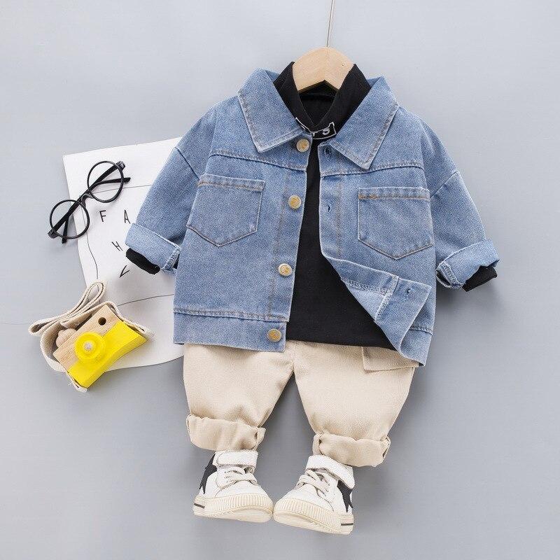 Baby boy clothes spring and autumn denim jacket children's suit boys cotton letter sweater denim jacket boy three-piece suit