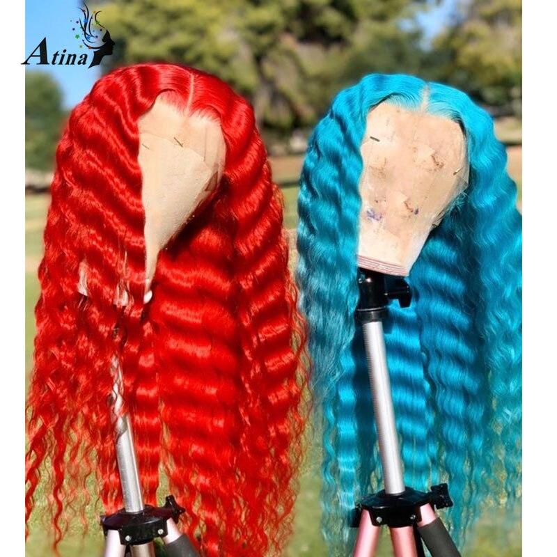 Parrucca per capelli umani allentata parte profonda onda Pre pizzicata nodi candeggina colorato blu rosso Remy HD parrucca anteriore in pizzo trasparente chiusura completa