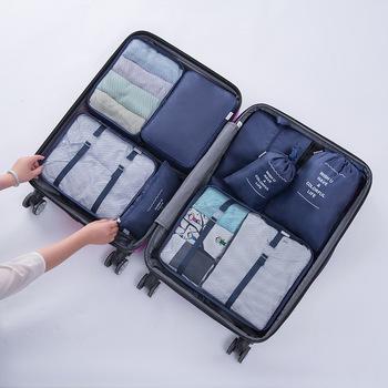 Nowy 8 sztuk zestaw organizator podróży torby na odzież organizery do pakowania jasne worki siatkowe walizka torba na bagaż w torbie Dropshipping tanie i dobre opinie uovga Poliester 11inch Akcesoria podróżnicze 30inch XZ-9109 0 42kg Pakowanie organizatorzy 40cm Polyester Stałe