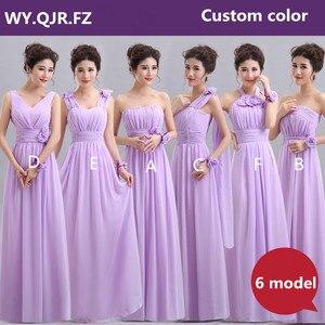 Image 2 - QNZL70Z # ホルターネックレースアップシフォンパープルシャンパンピンクのウエディングドレスロング卸売カスタム結婚式パーティードレス花
