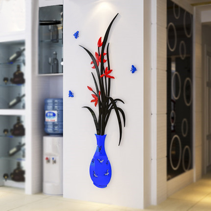 Crystal Vase Acrylic 3d stereoscopic wall stickers living room bedroom TV backdrop entrance decoration