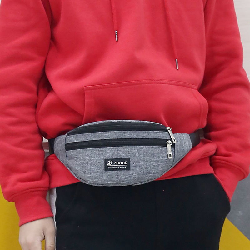 Hot Sale Woman Men Waist Bag Pack Casual Functional Money Phone Belt Bag T201 Gray Black Women Bag For Belt Canvas Hip Bag Fanny