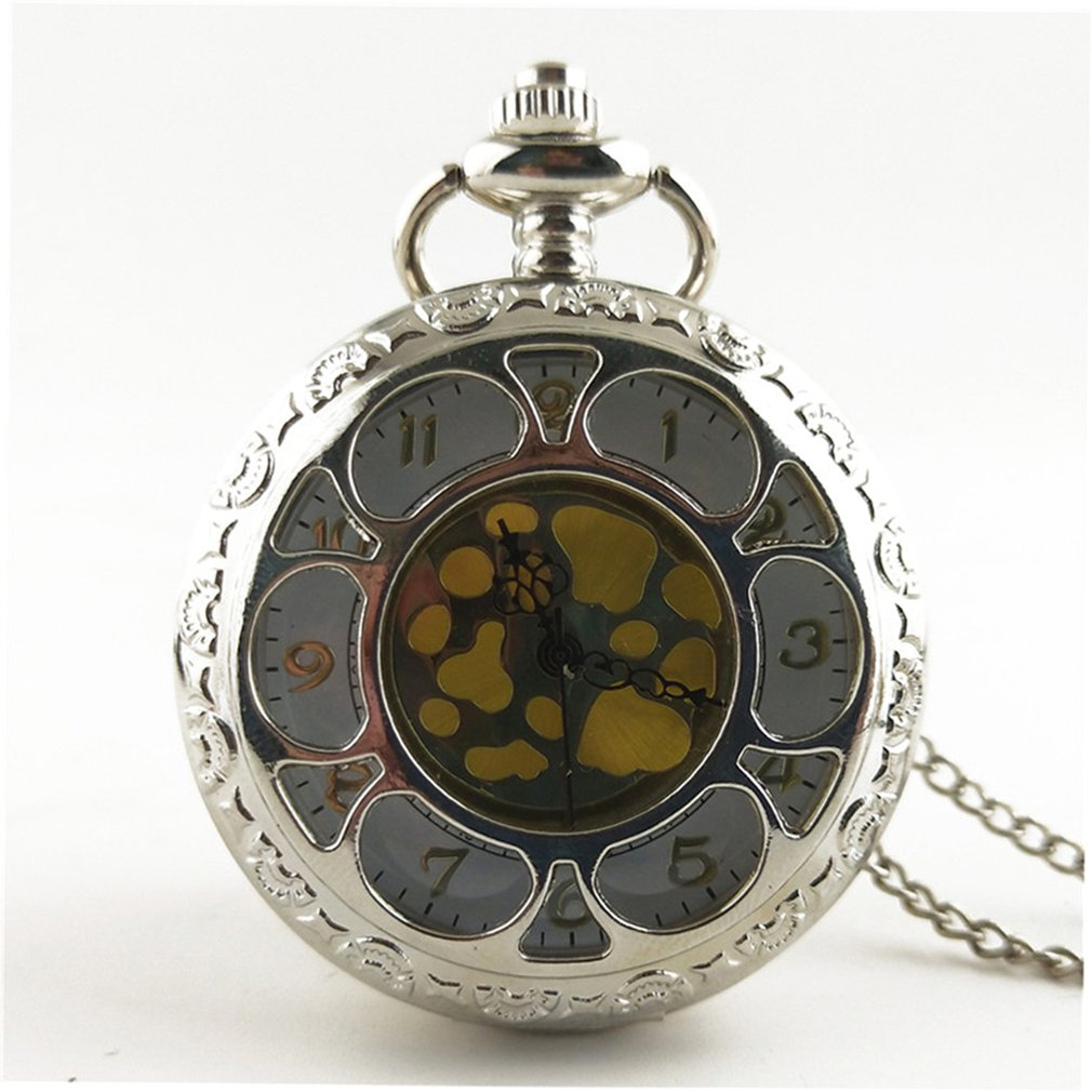 Antique Pocket Watches Hollow Out Flower Unisex Vintage Transparent Retro Necklace Pocket & Fob Watch With Chain For Men Women