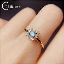 Ювелирные изделия colife 100% Натуральный топаз серебряное кольцо