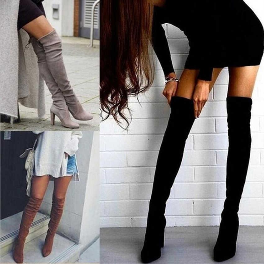 בתוספת גודל 34-43 2018 חדש נעלי נשים מגפיים שחור מעל הברך מגפיים סקסי נשי סתיו חורף ליידי ירך גבוהה מגפיים