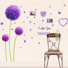 [shijuekongjian] Purple Dandelion Flower Wall Stickers DIY Plant Home Decor Stickers for Living Room Bedroom Decoration