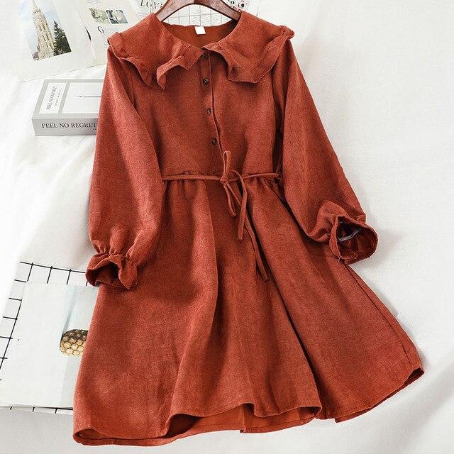 Kawaii solide femmes robe douce col claudine à manches longues Lolita robes Vestidos mignon volants Empire a-ligne Mini robes
