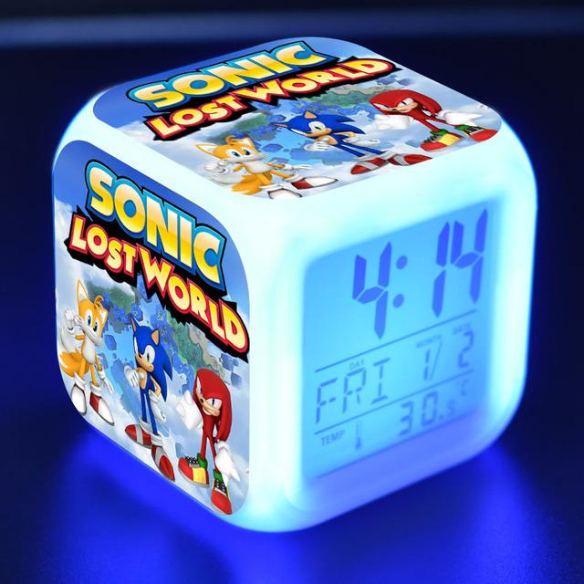 Figura Sonic LED reloj alarma colorida luz táctil reloj de escritorio Sonic figurita juguetes para niños regalo de Navidad