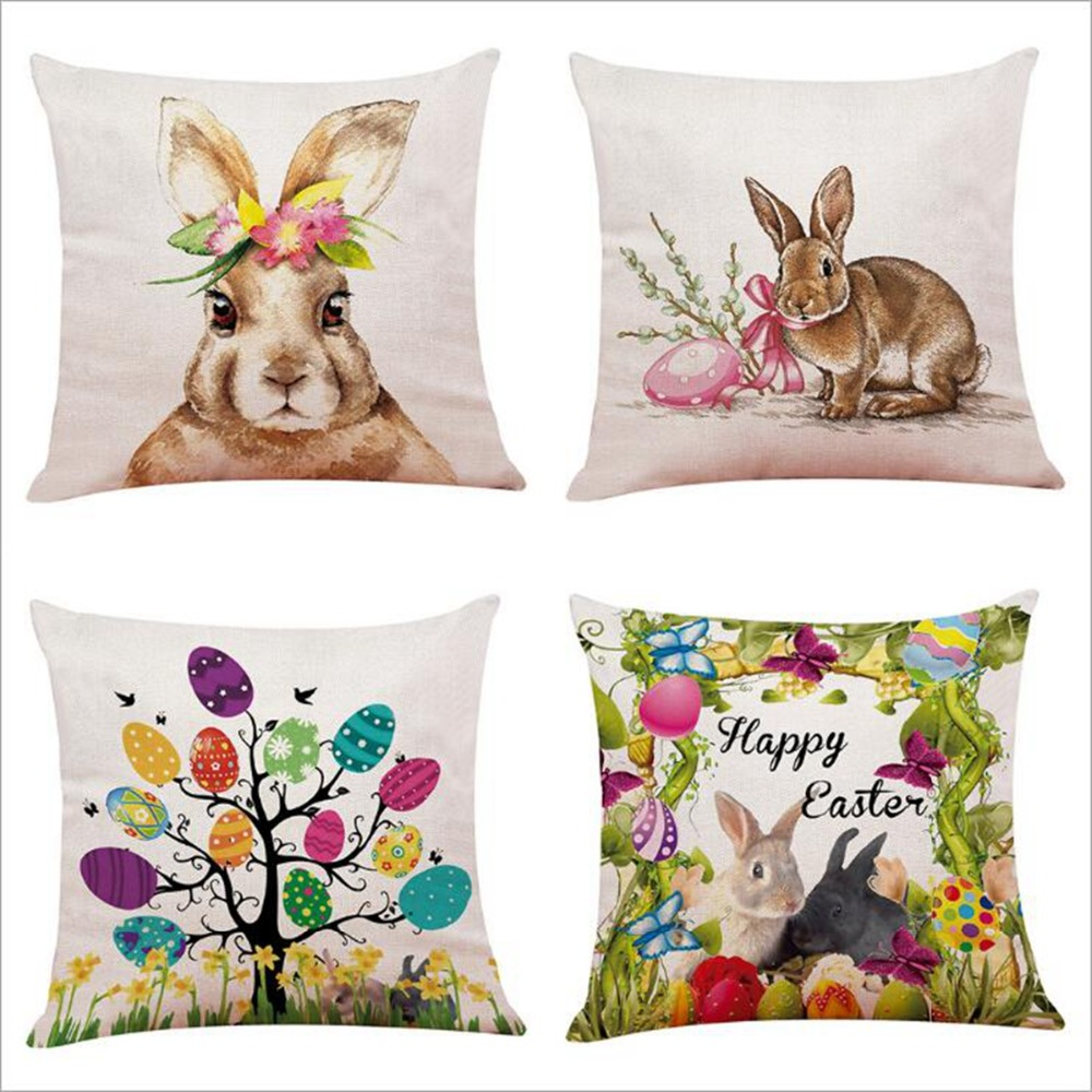 Liviorap Happy Easter Decorations For Home Bunny Easter Eggs Polyester Pillowcase 45*45Cm Party Decorations Easter Rabbit Decor