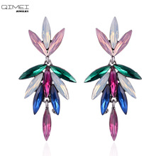 CC flower long stud earrings with crystal color black pink for women acrylic stone party jewelry wholesale