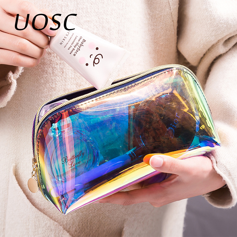 UOSC Semicircle Shape Cosmetic Bag For Women Colorful Laser Makeup Pouches Zipper Travel Organizer Toiletry Wash Beauty Storage