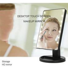 2019 New Makeup Mirror Touch Sensing LED Desktop Receiving 16 Lights For Table Model 180 Rotations