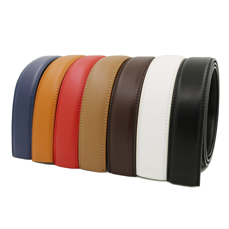 LannyQveen No Buckle Belt 3.5cm White Red Brown 7 Colors Genuine Leather Automatic Belts Body Strap Designer Men Ribbon Belt