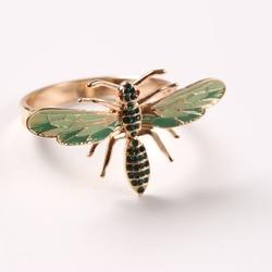 6 pièces la nouvelle abeille serviette boucle serviette anneau alliage vert insecte libellule goutte à goutte diamant boucle serviettes en papier,