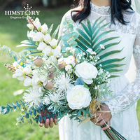 HIMSTORY Fresh Nordic style Wedding Bride Holding Flowers High Simulation Silk Flowers Forest Flower Bouquet