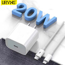 Urvns 20w usb c carregador para iphone 12 pro max suporte tipo c pd carregador de telefone de carregamento rápido para iphone11 pro max xs x 8 8plug