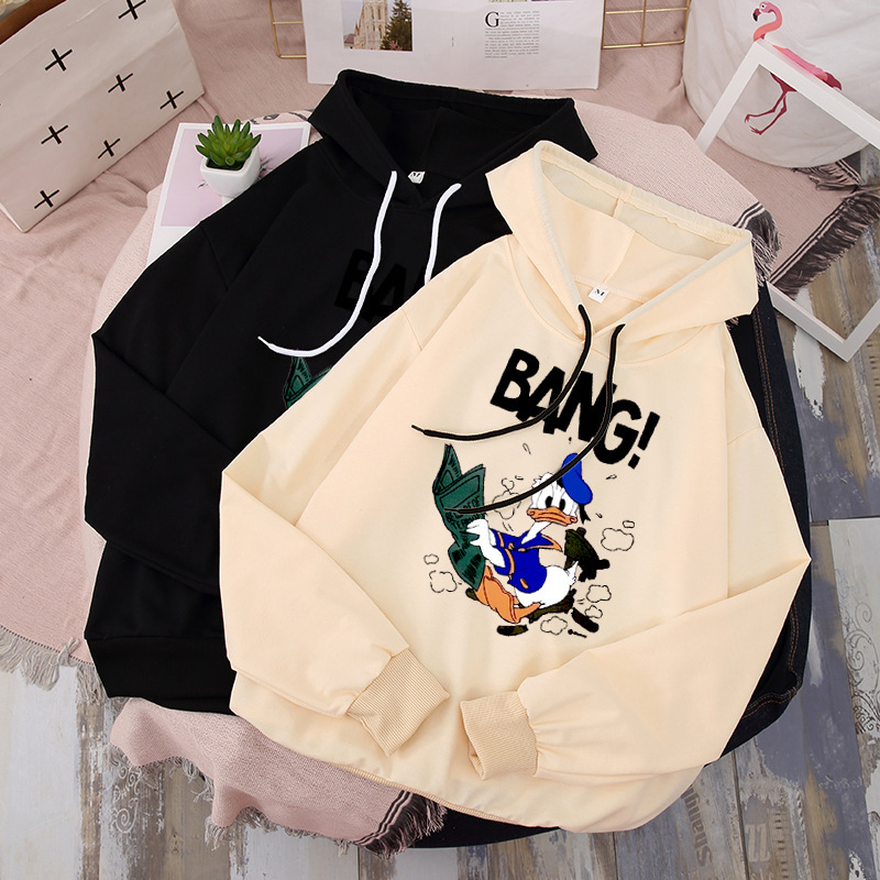 Women Hoodies Couple Shirt Winter Spring Streetwear Cartoon Donald Shirt Letter Print Bang Long Sleeve Funny Sweatshirts