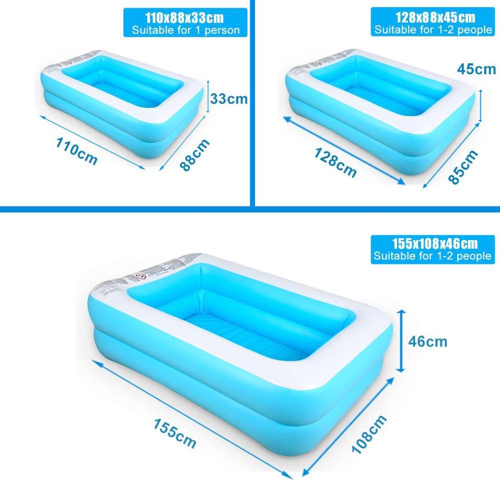 110/128/155/ Rectangular Inflatable Swimming Pool Paddling Pool Bathing Tub Outdoor Summer Swimming Pool For Kids