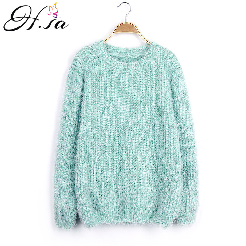 H.SA Women Winter Sweater Oneck Mohair Casual Loose Knit Pullover Cheap Warm Soft Sweaters Pull Femme Jumper Casaco Feminina