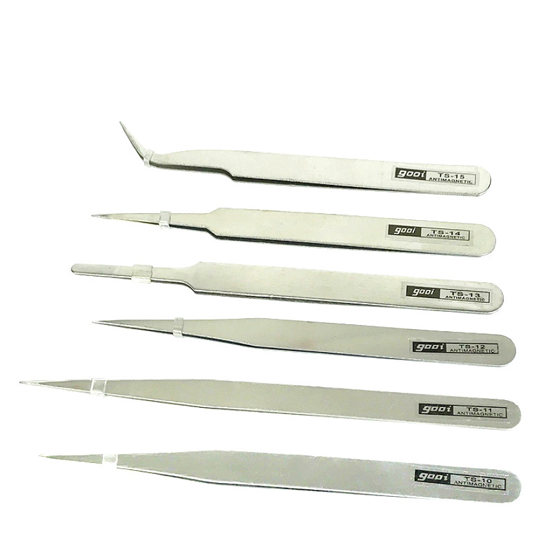 Precision Stainless Steel Tweezers Watchmaker Repair Jewelry Tweezers Tools For Jewelry & Repairing 6 Pcs
