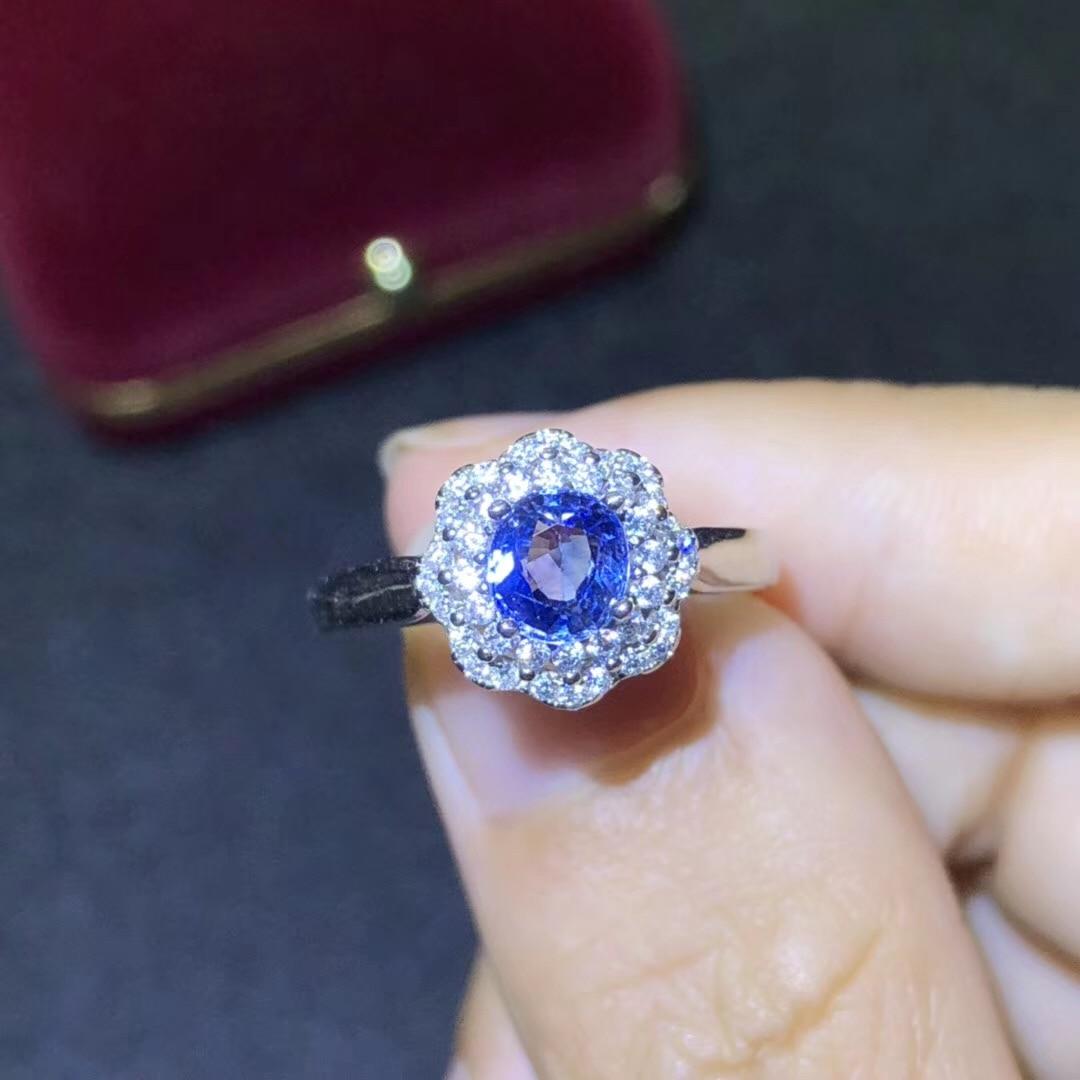 BOEYCJR S925 argent saphir à la mode bijoux fins réglable élégant pierres précieuses anneaux pour les femmes cadeau de fiançailles anneau anillo