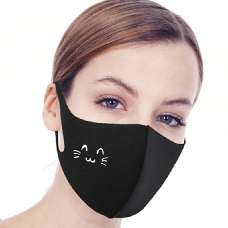 Women Men Washable Mouth Mask Cartoon Patterned Dustproof Cotton Half Face Cover