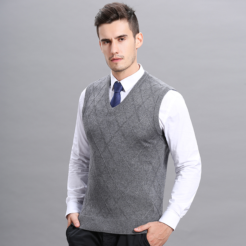 Hot Sale Mens Autumn Winter Plaid Wool Sweater Vest Casual Male V-Neck Cashemre Sleeveless Sweater Pullovers