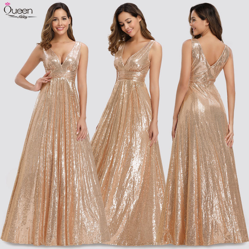Rose Gold Sequined Evening Dresses For Women Vestidos Long A-Line V-Neck Sexy Formal Party Gowns Saudi Arabia Plus Size