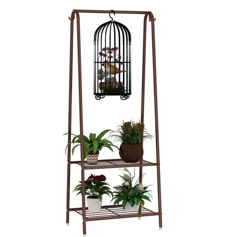 M8 Flower Stand Balcony Wrought Iron  Pot Shelf Living Room Standing Hanging  Rack  Multi-function