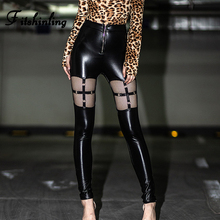 Fitshinling Zip-Up Gothic PU Trousers For Women Grunge Cut Out High Waist Pants Female Faux Leather Joggers Black Sexy Bottoms