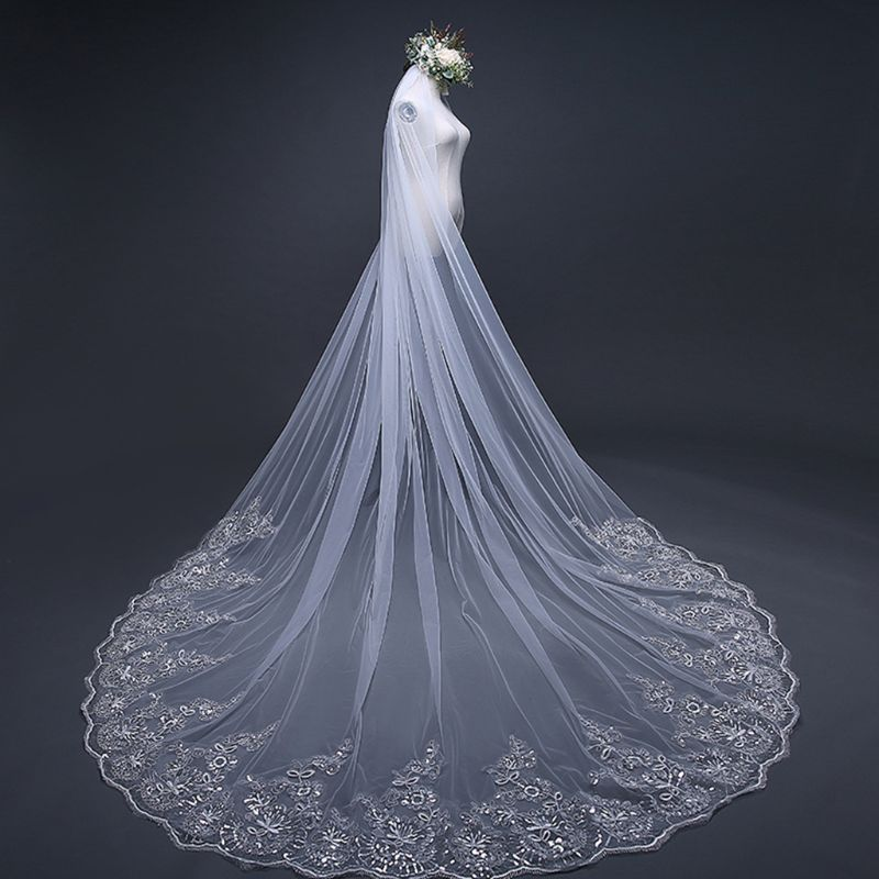 4M One-Layer Women Trailing Cathedral Long Wedding Veil Embroidered Floral Lace Applique Scalloped Trim Bridal Veil With Comb
