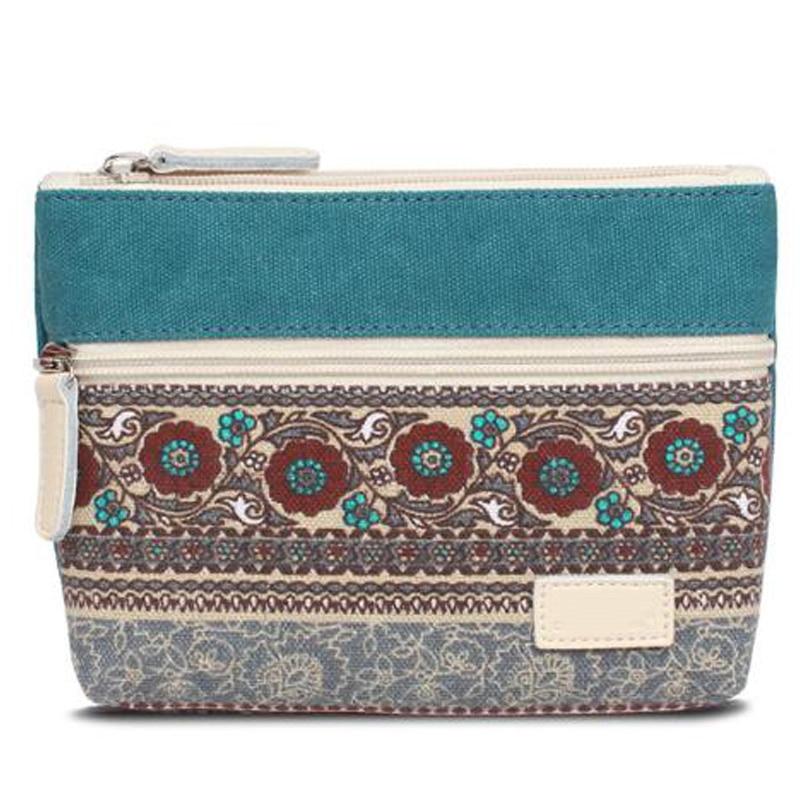 Clutch Bag National Wind Purse Retro Canvas Bag Zipper Storage Bag