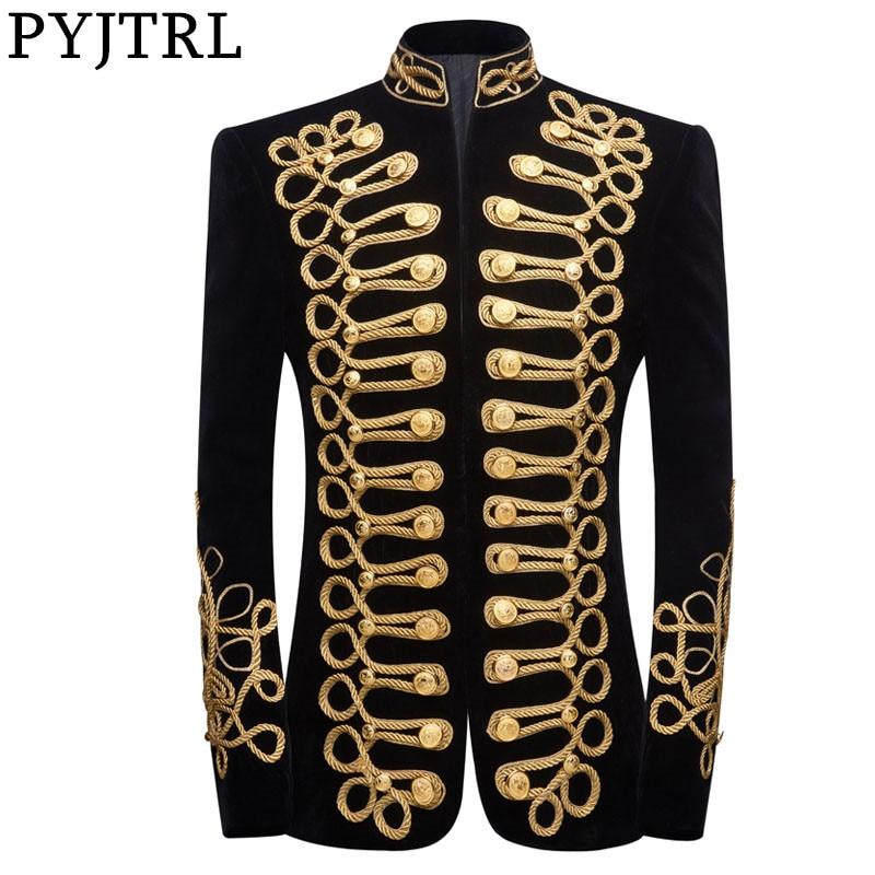 PYJTRL Mens Plus Size Handmake Black Gold Embroidery Velvet Blazer DJ Singers Nightclub Costume Stylish Suit Jacket Stage Wears