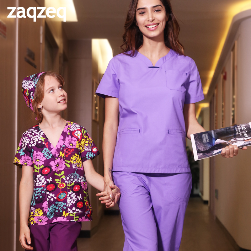 Zaqzeq 2020 Hand-washing Suit Surgical Suit Doctor Nurse  Beauty Pet Hospital Short-sleeved Work Clothes