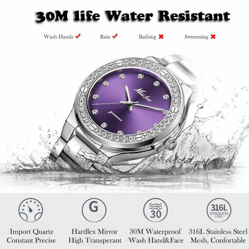 Relogio Feminino MISSFOXร้อนนาฬิกาผู้หญิงกันน้ำแบบอะนาล็อกนาฬิกาสแตนเลสกันน้ำแฟชั่นลำลองเพชรนาฬิกาผู้หญิง