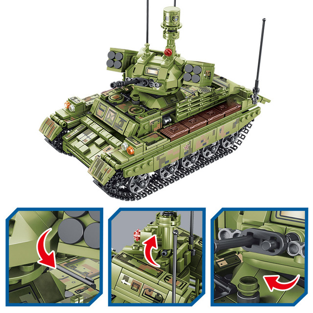 894pcs Military Panzer Tank Model Building Blocks WW2 Helicopter City Truck Soldier Figures Bricks Toys For Boys 2