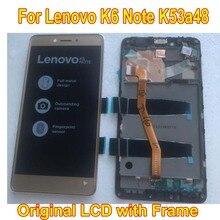 Original melhor trabalho testado display lcd tela do painel de toque digitador assembléia com quadro para lenovo k6 nota k6 plus k53a48 peças sensor do telefone móvel