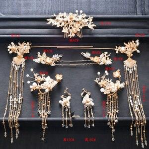 Image 5 - Traditional Chinese Hairpin Gold Hair Combs Wedding Hair Accessories Headband Stick Headdress Head Jewelry Bridal Headpiece Pin