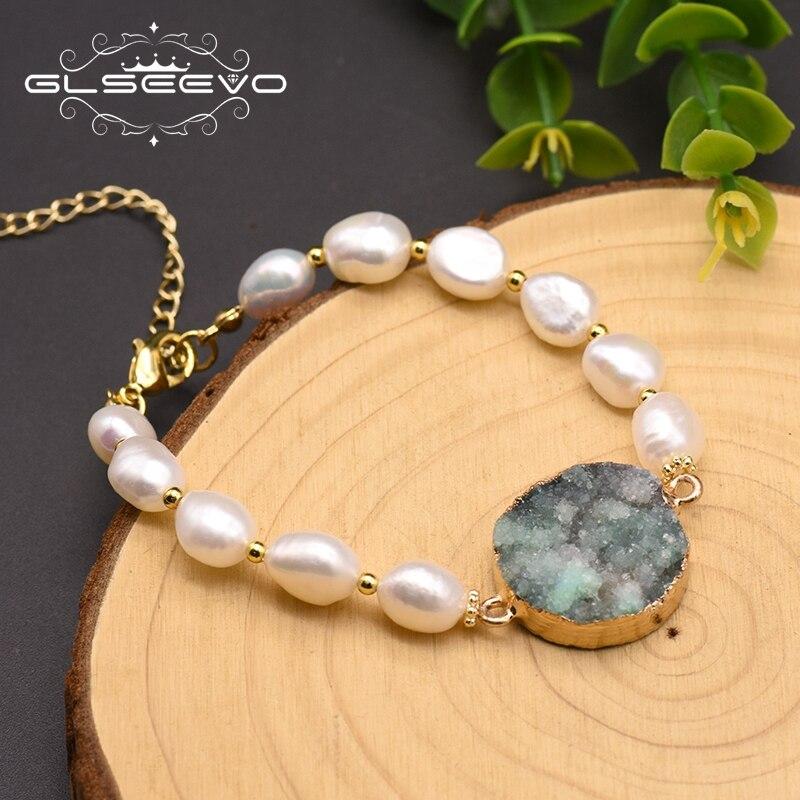 GLSEEVO Handmade Fresh Baroque Pearl Crystal Bracelet For Women Girl Lovers' Luxury Korean Fine Bracelet Pulsera Mujer GB0186B