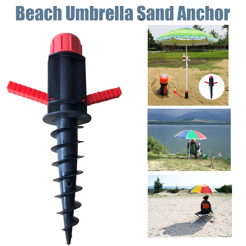 Portable Beach Umbrella Sand  Heavy Duty Accessories Plastic Patio Lawn Windproof Home Garden Outdoor Camping Spiral Stand